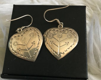 Sterling Silver Floral Heart Dangle Earrings