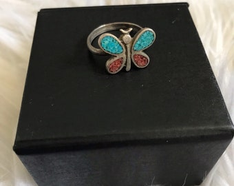 Turquoise and Coral Sterling Silver Butterfly Ring