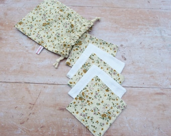 Reusable Cosmetic Pads, Cleaning Pads, Cotton Rounds / 5-set with bags / Small yellow flowers