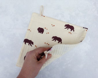 """Rinsing cloth, cleaning cloth, rinsing cloth, sustainable, reusable, zero waste, zero waste """"Brown bears on cream"""""""