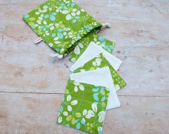 Reusable Cosmetic Pads, Cleaning Pads, Cotton Rounds / 5-set with bags / Leaves on green