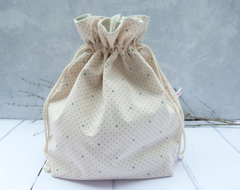 Bread bag, bread basket or bread bag, bread basket, baked goods bag 3 in 1 / dots on light pink