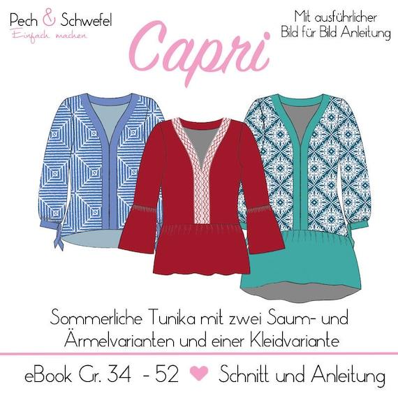Ebook Schnittmuster Tunika Capri Damen Gr. 34 52 | Etsy