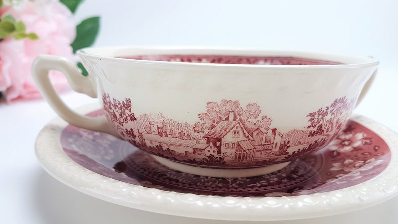RUSTIKANA Soup cup by Villeroy and Boch Vintage Made in Germany English motifs Toil De Jouy