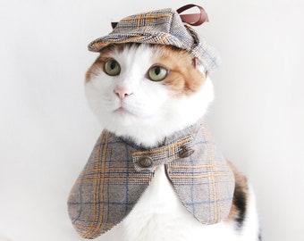 Sherlock Holmes Detective Cape Hat Pet Cat Dog manteau cloths halloween costume Miyopet