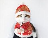 Pet Cat Dog Chinese Gentleman dress set coat cute hat hairband dress clothes shirt Costume halloween gift Miyopet