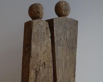 Wooden figures, Wooden sculptures, Pair of wooden figures, Wooden figures, Wooden pair