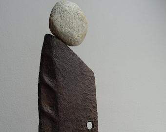 Iron figure / Iron figure / Iron artificial figure with stone head