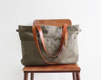 Canvas Weekender Tote Bag, Handmade Handbags, Army Green Waxed Diaper Bag, Durable Shopper Bag, Custom Monogram Bag Canvas Leather Daily Bag