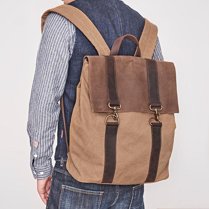 66572d6fc1c Handcrafted Canvas Backpack, Boyfriend Gift ideas, Waterproof Backpack,  Mens Bag, Gift For Man, School Adventure Bag, Large Hiking Rucksack