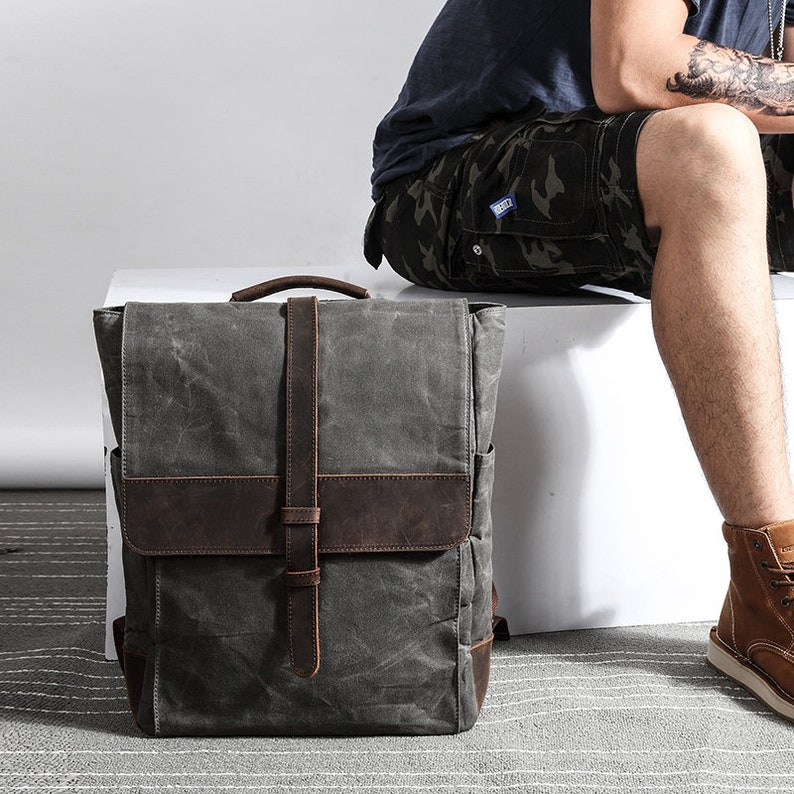 Waxed Canvas Backpack Men Diaper Backpack Mens Laptop  0fc61bbff8f78