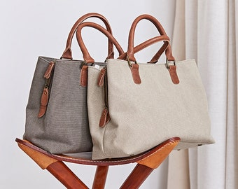 Women Tote Bag, Daily Shoulder Bag, Laptop Handbags, Gift for Women, Customizable Bags, Tote With Zipper, Laptop Work & Student Bag Monogram