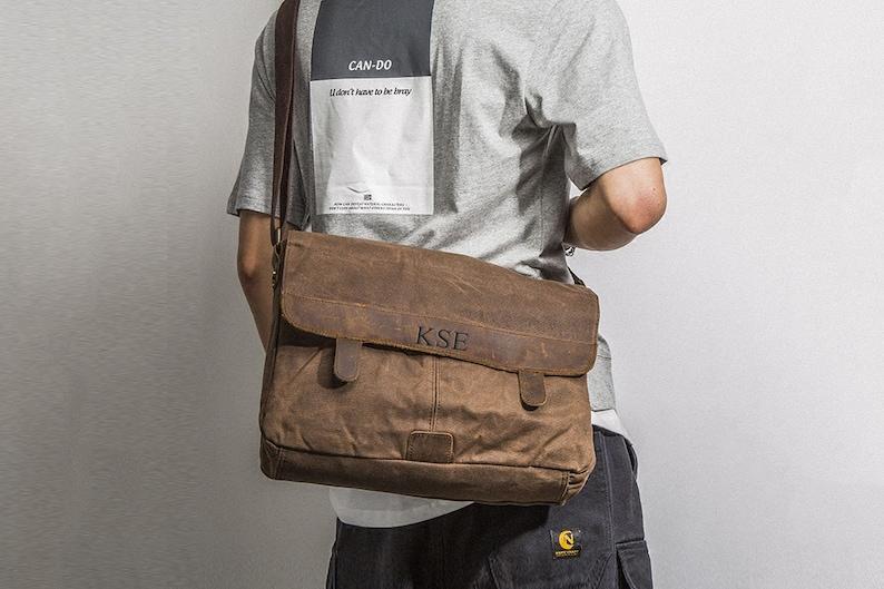 Waxed Canvas Messenger Bag Personalized Crossbody Bag Canvas  ee4c388e9b750