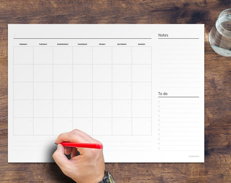 Undated Desk Pad Monthly Planner Blank Printable PDF A2 A3 image 0