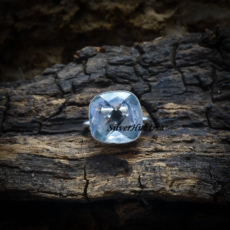 Thumb Ring 925 Sterling Silver Ring Blue Topaz Ring Gemstone Ring Anxiety Ring Blue Stone Ring Gift For Women Fidget Ring