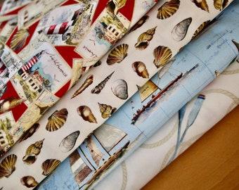 Miller fabric package WORLD TRAVELER 4 x 25 cm, maritime, lighthouse, sailor etc.