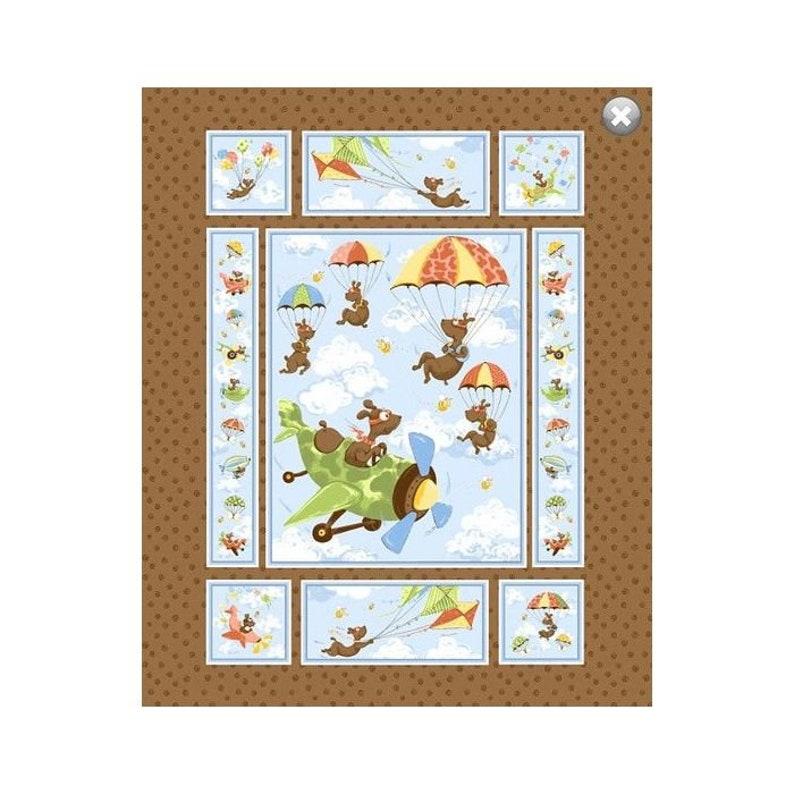 SUSYBEE Patchwork Fabric Panel Autumn Airplane Zig Flying image 0