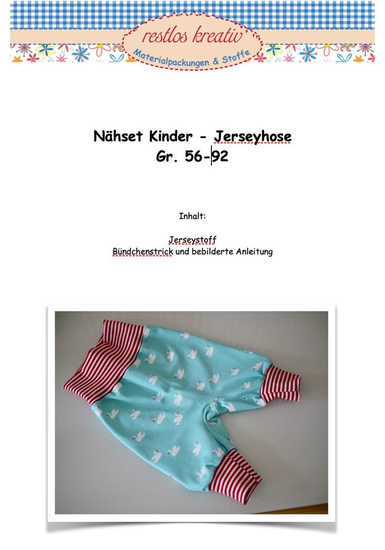 DIY Sewing Bag Baby Pants Sew Jersey Pants Swan Swans Size image 0