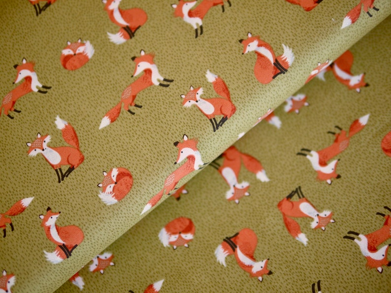 Makower patchwork fabric cotton fabric FOREST autumn fox image 0