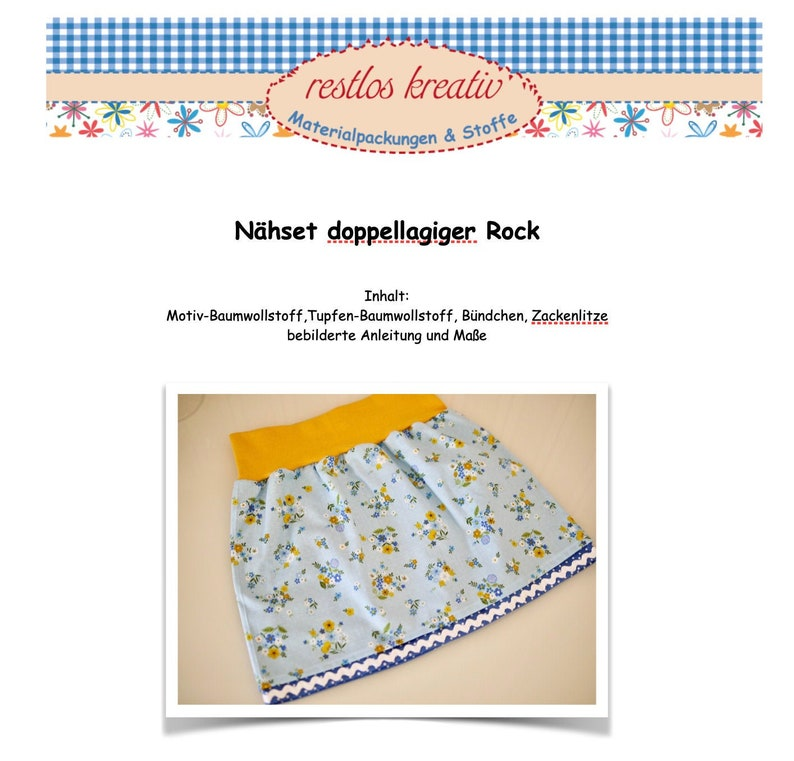 DIY sewing set double-layer skirt size 98-146 floral image 0