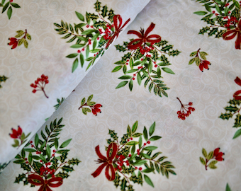 Makower patchwork fabric, Christmas fabric, Christmas bouquet with Ilex and fir