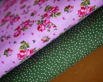 romantic fabric package cotton fabric roses and polka dots green-white