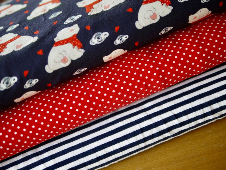 Fabric package jersey jersey fabric EISBÄR & polka dots  image 0