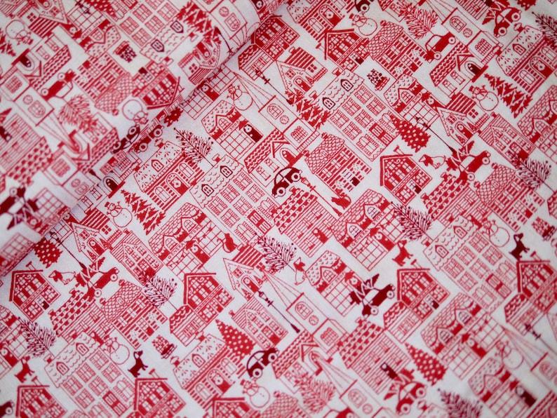 Makower patchwork fabric Christmas fabric SCANDI red houses image 0
