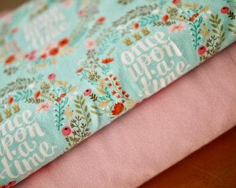 Fabric pack jersey, jersey fabric, cotton jersey, flowers & uni rosé