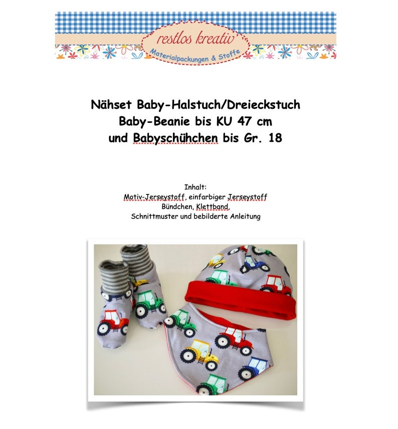 DIY sewing pack sewing kit baby hat baby scarf and baby image 0