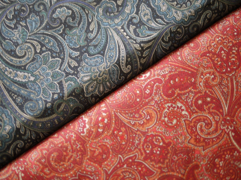 SEVENBERRY patchwork fabric Paisley blue or red image 0