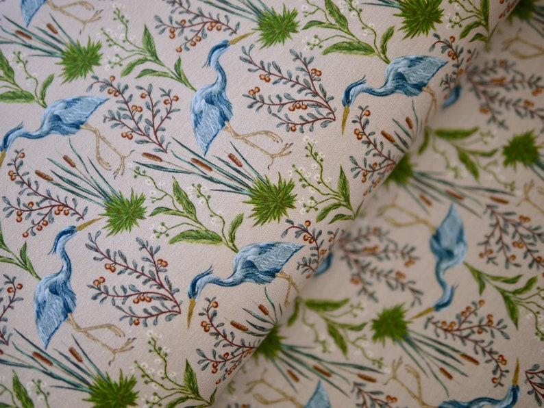 Cotton Jersey jersey Fabric Heron Crane Bird in Reeds image 0