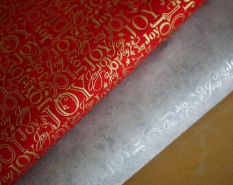 Robert Kaufman patchwork fabric, Christmas fabric JOY, silver or red-gold