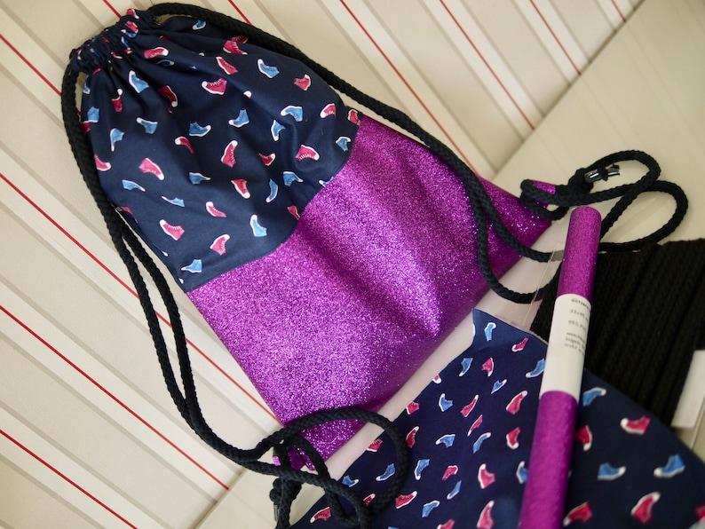 DIY sewing kit backpack glitter fabric sneakers similar. image 0
