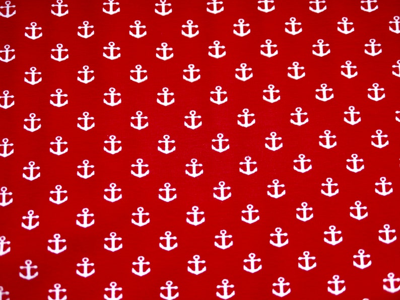 75 cm REST Cotton Jersey Maritime Jersey ANKER Red and White image 0