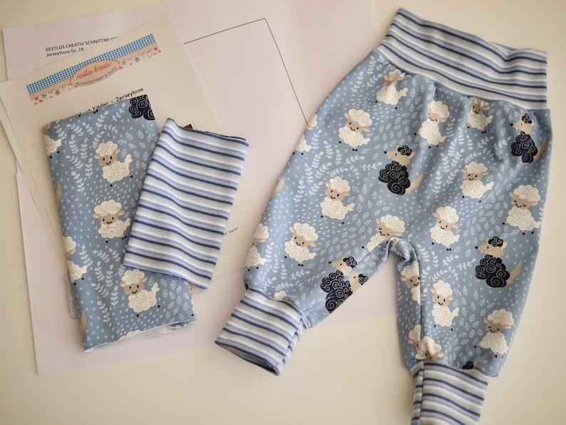 DIY Sewing Fit BABYHOSE Jersey SCHAFE light blue Size 56-92 image 0