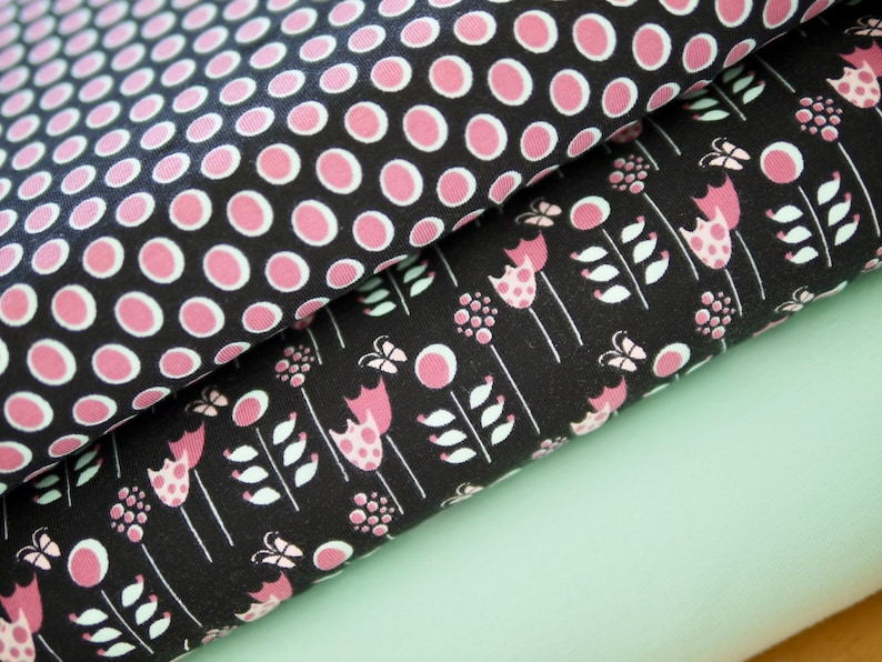 Fabric package jersey jersey cotton jersey flowers and dots image 0