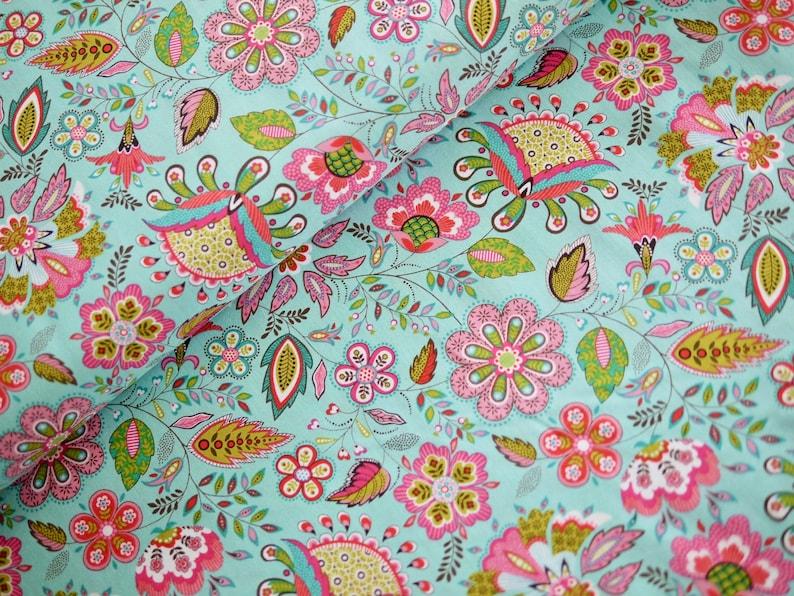 Makower patchwork fabric cotton fabric MONSOON flowers image 0