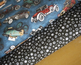 """Robert Kaufman fabric package patchwork fabric """"On the Road"""", vintage cars and screws"""