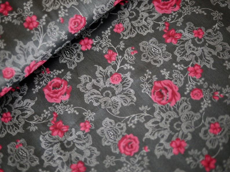 Cotton fabric costume fabric flowered roses gray-pink image 0