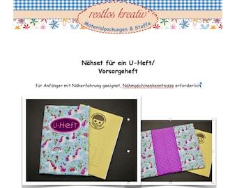 DIY Sewing Set Sleeve f. Children's Pension Booklet, U-Booklet Sleeve UNICORN