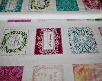 MODA Patchwork Fabric, 45 cm Panel CREATE JOY Project, Handmade Labels