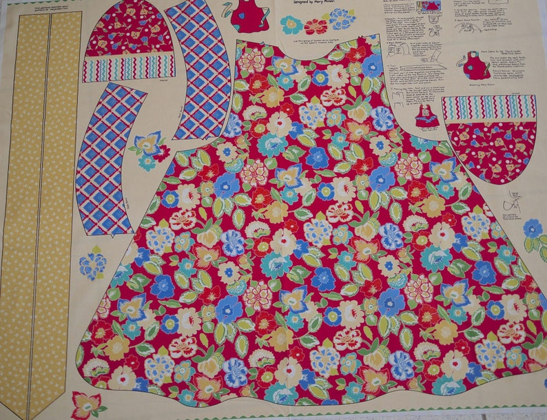 Penny Rose patchwork fabric panel apron kitchen apron image 0