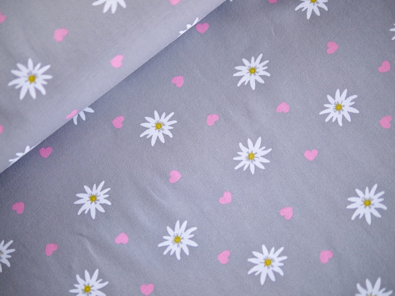 Cotton jersey T-shirt fabric EDELWEISS and hearts grey-pink image 0