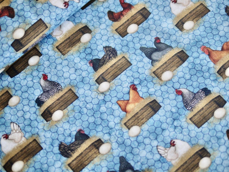 QT patchwork fabric cotton fabric chickens hens farm image 0