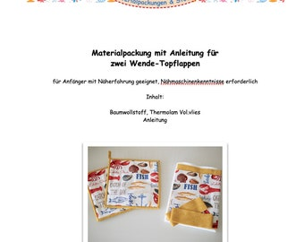 DIY sewing kit, material package maritime WENDE-TOPFLAPPEN