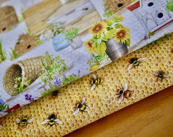 Robert Kaufman Fabric Pack, Patchwork Fabric, Bees, Honeycomb, Beehive