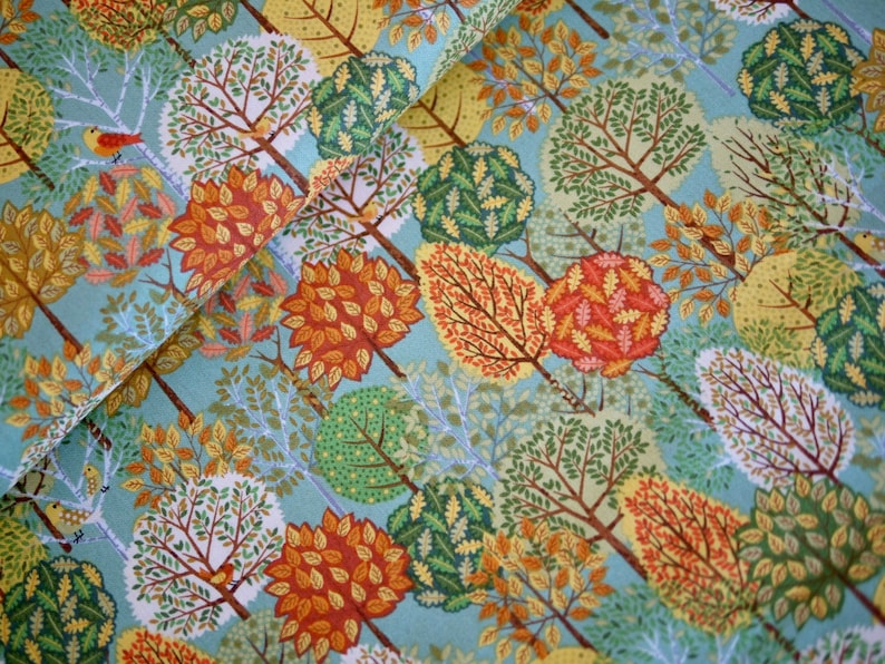 Makower patchwork fabric cotton fabric FOREST autumn tree image 0