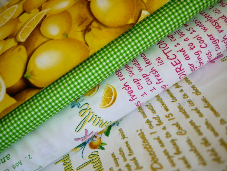 Kanvas/Benartex fabric package 3 x 25 cm x110 cm lemon image 0