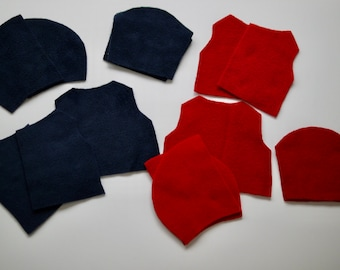 Sewing set, cut for 2 pieces. Doll clothes size 35-40 cm, 2 hooded fleece jackets #3